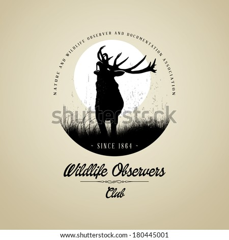 Wildlife Observers with Deer buck on fool moon badge - stock vector