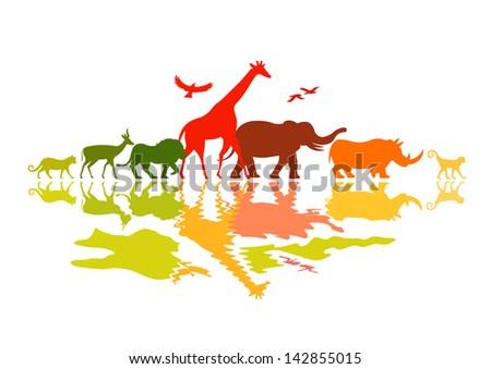 Wildlife Safari - Wild animals vector illustration. - stock vector