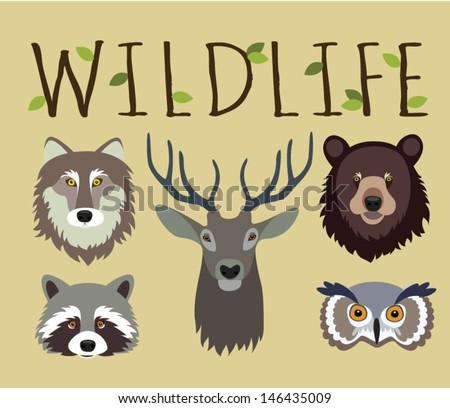 Wildlife set - masks of wild animals - stock vector