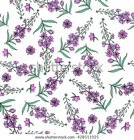 Willow herb, Chamerion angustifolium, fireweed, rosebay hand drawn color sketch botanical illustration, seamless vector pattern graphic flower texture background for wallpaper, textiles, packaging tea - stock vector
