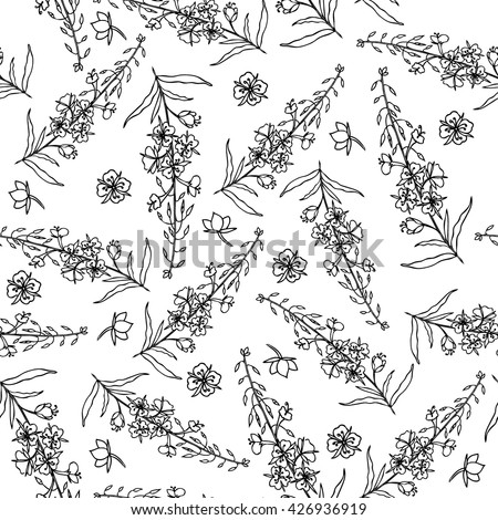 Willow herb, Chamerion angustifolium, fireweed, rosebay hand drawn vintage sketch botanical illustration, seamless vector pattern graphic flower texture background for wallpaper, textiles, packaging - stock vector