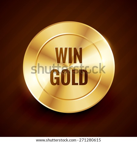 win gold label beautiful vector design illustration - stock vector