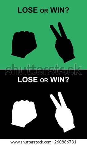 win or lose rock-scissors hand, rock-scissors, rock-scissors hand vector, competition hand signs - stock vector