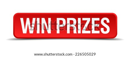 Win prizes red 3d square button isolated on white - stock vector