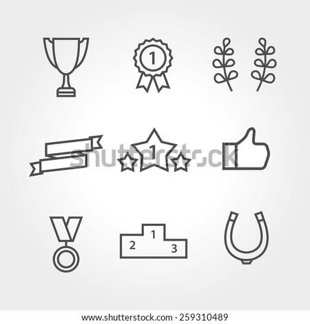 Win set icon thin line - stock vector