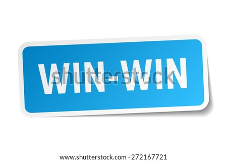 win-win blue square sticker isolated on white - stock vector