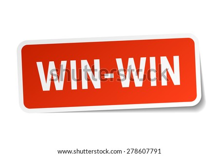 win-win red square sticker isolated on white - stock vector