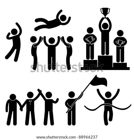 Win Winner Loser Glory Celebration Champion Success Victory Icon Symbol Sign Pictogram - stock vector