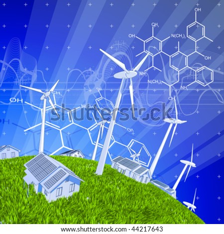 wind-driven generators, houses with solar power systems, blue sky, green grass & chemical formulas - stock vector