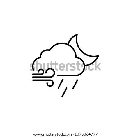 Wind Drizzle Moon Icon Weather Symbol Stock Vector 1075364777
