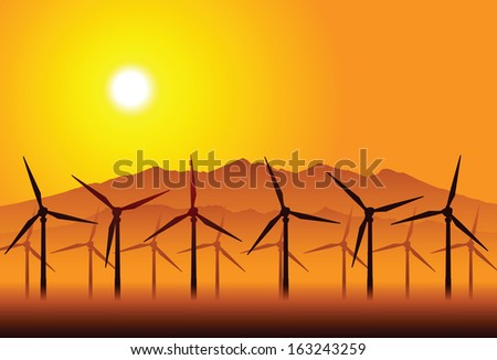 Wind electricity generators and windmills - stock vector