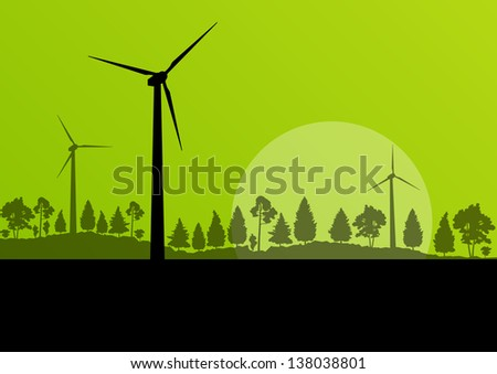 Wind electricity generators and windmills in countryside forest nature landscape ecology illustration background vector - stock vector