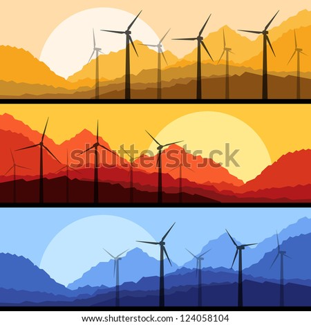 Wind electricity generators and windmills in mountain desert nature landscape ecology illustration background vector