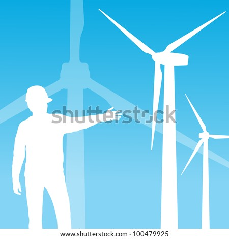 Wind electricity generators vector background with engineer - stock vector