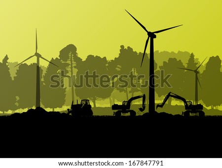 Wind electricity generators with excavator loaders and bulldozer in countryside forest field construction site landscape illustration background vector - stock vector
