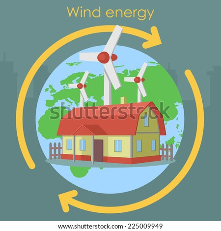 wind energy house planet plant - stock vector