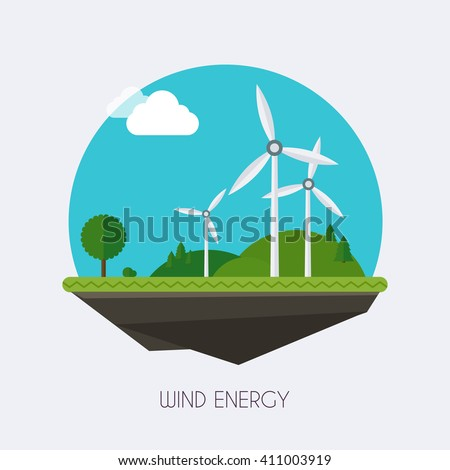 Wind energy. Landscape and industrial factory buildings concept. Vector flat infographic. - stock vector