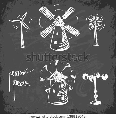 Wind facilities set on on chalkboard blackboard.. Hand drawn sketch illustration. - stock vector
