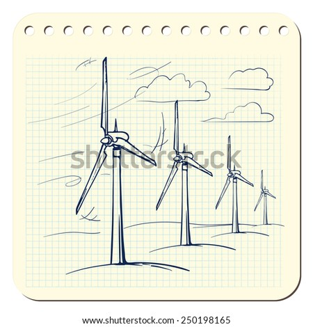 Wind farm is a series of wind generators set in the area to provide people with renewable green energy. EPS8 vector illustration in a sketchy style imitating scribbling in the notebook or diary.  - stock vector