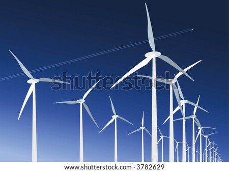 Wind farm turbines with aircraft trail in the sky