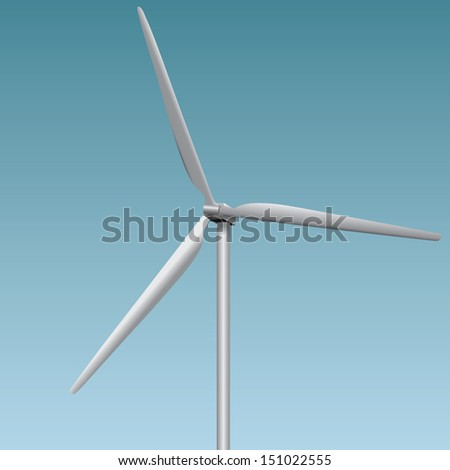 Wind generator - a device converting wind power into electricity. Vector illustration.