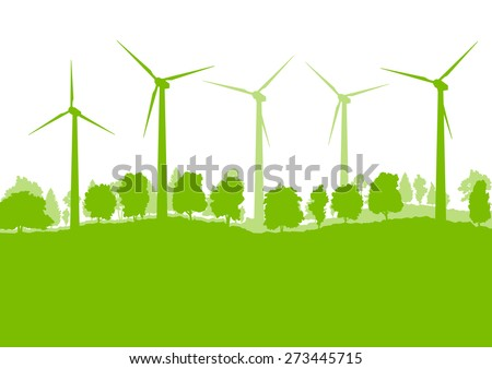 Wind generator turbine clean energy concept vector background concept landscape - stock vector