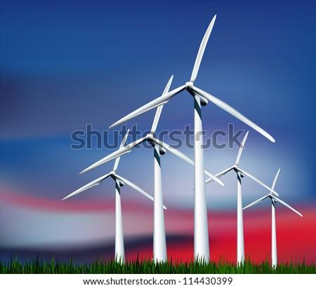 Wind Generators against the evening sky. Vector illustration - stock vector