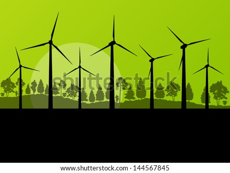 Wind generators ecology vector background concept landscape - stock vector