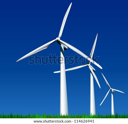 Wind Generators over sky with grass. Vector illustration