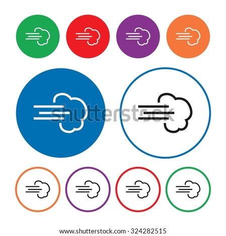 Wind icon. Air icon. Weather icon. Button. Vector illustration - stock vector