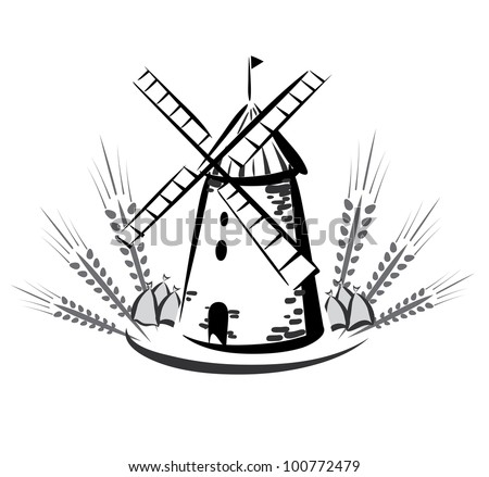 wind mill emblem, grocery products symbol - stock vector