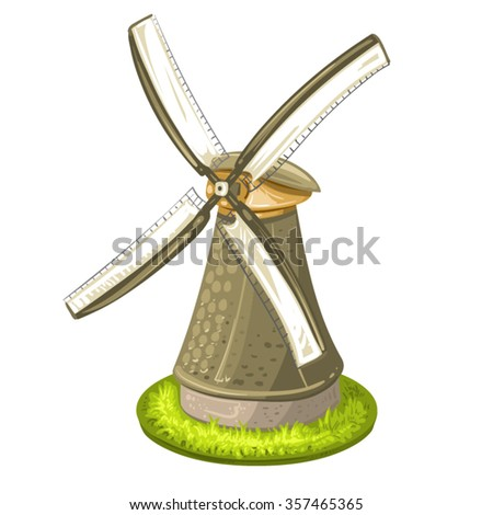 Wind mill over white background - stock vector