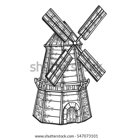Wind Mill Windmill Hand Drawn Sketch Stock Vector ...