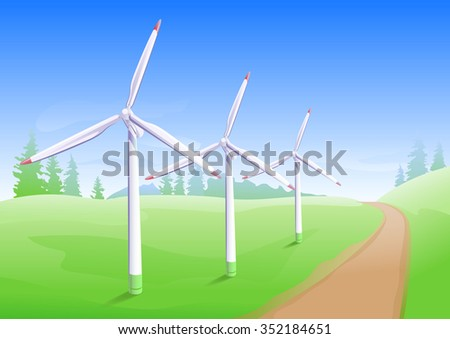 Wind power industry. Windmill energy generator. Illustration in vector format