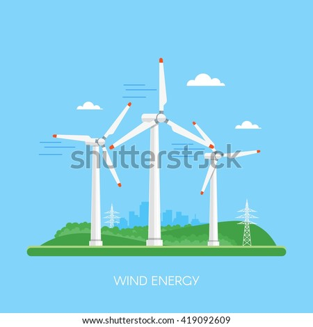 Wind power plant and factory. Wind turbines. Green energy industrial concept. Vector illustration in flat style. Wind power station background. Renewable energy sources. - stock vector