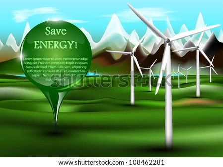Wind power plants with pin - stock vector
