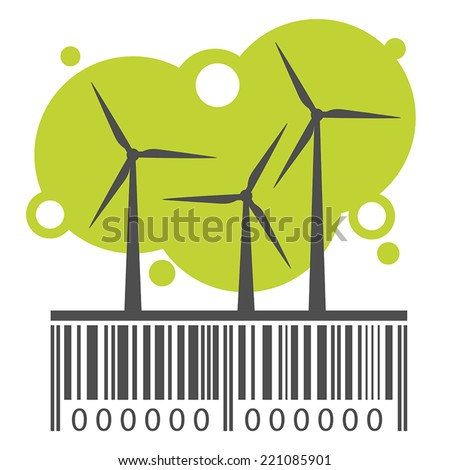 Wind power stations and barcode. Vector - stock vector