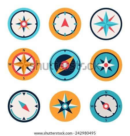 Wind rose compass flat symbols set - stock vector
