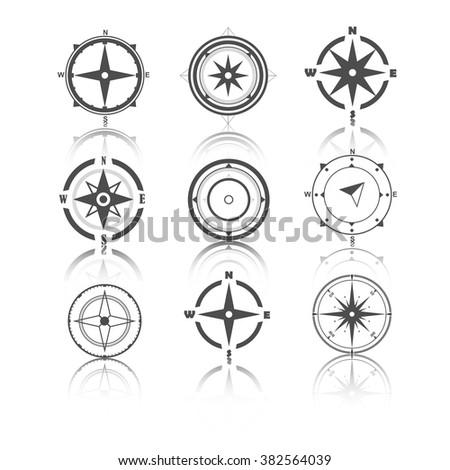 Wind rose compass flat vector symbols set. - stock vector