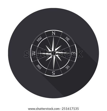 wind rose compass icon with long shadow - vector round button - stock vector