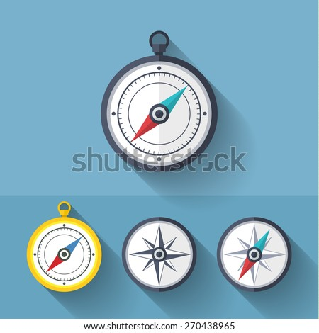 Wind rose compass vector flat trendy symbol - stock vector