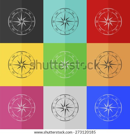 Wind rose compass vector icon - colored set. Flat design