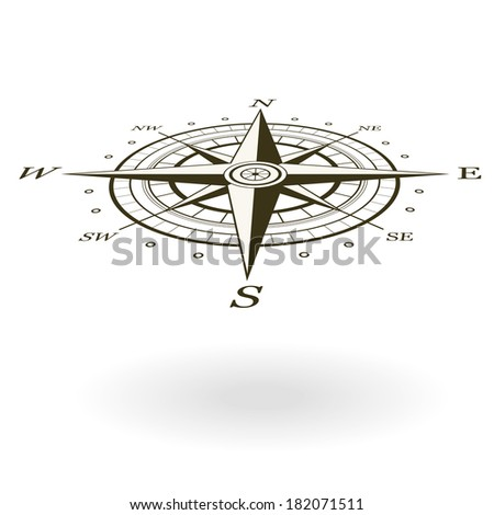 Wind rose isolated on white background. View from above and one side. - stock vector