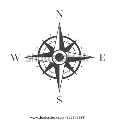 Wind Rose on White Background - stock vector