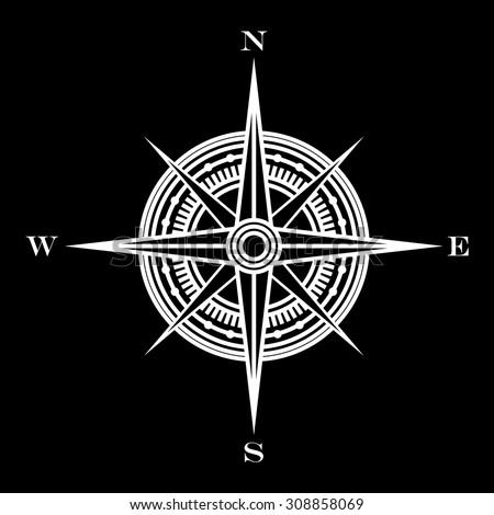 wind rose symbol - stock vector