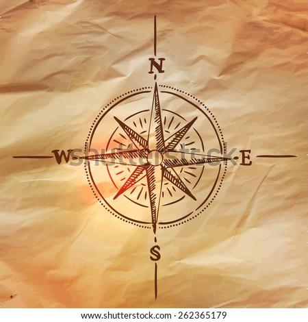 Wind rose, vector illustration in vintage style over old paper - stock vector