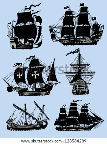 Wind ships isolated on the blue background - stock vector