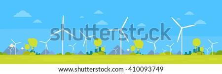 Wind Turbine Alternative Energy Resource Nature Background Banner Flat Vector Illustration - stock vector