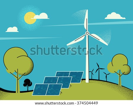 Wind turbine and solar panels in green fields during. Ecology environmental background for presentations, websites, infographics and banners. Conceptual illustration design - stock vector
