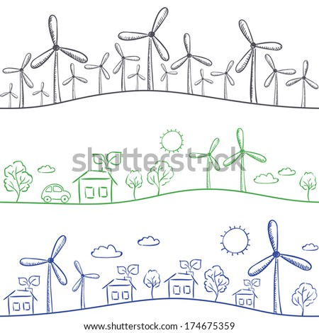 Wind turbine and town seamless background - green energy drawing - stock vector